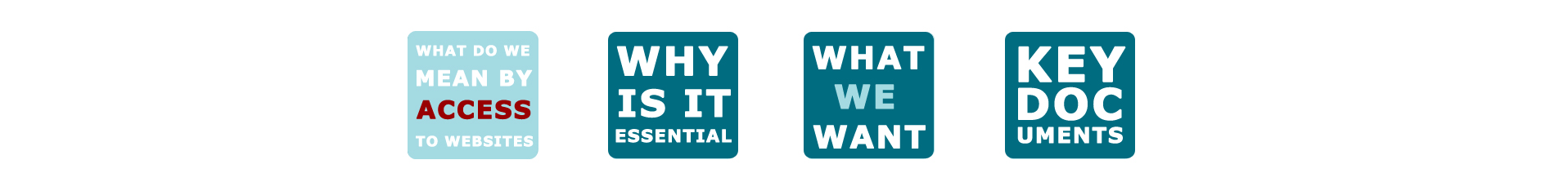 What do we mean by Access to Websites - Why is it essential - What we want - Key Documents